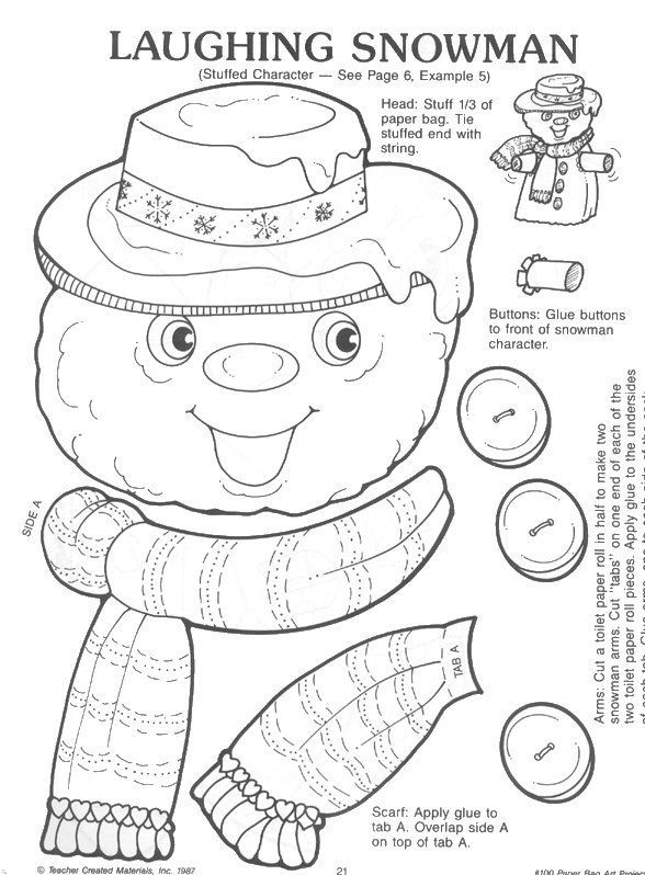 Free Christmas Printable For Kidss Crafts Snowman Paper Bag Craft