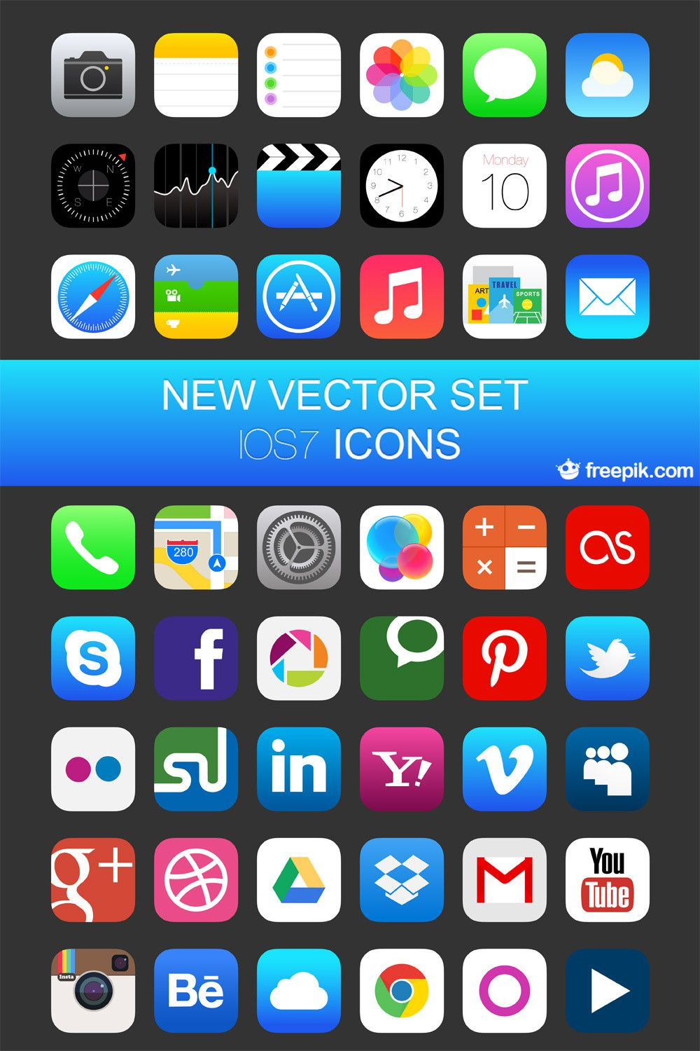 iOS 7 Vector Icons Icons Fribly Web design, Interface web, Ressources