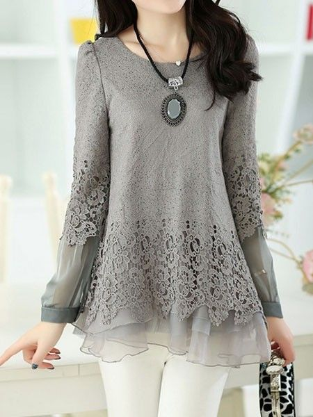 Ladylike Round Neck Lace Shirt