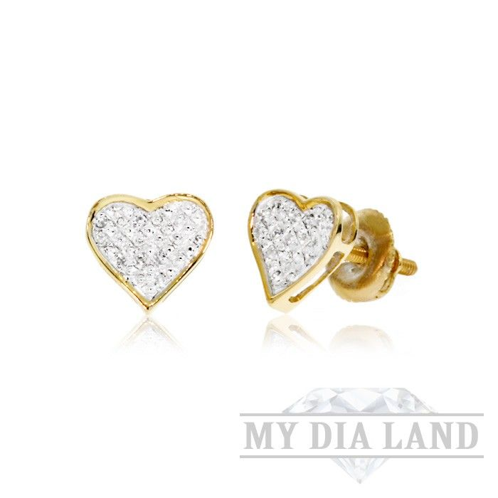 0.10 CT, White Round Brilliant Cut Diamond Micro-Pave Setting Heart Women'S Stud Earrings In 14K Yellow Gold