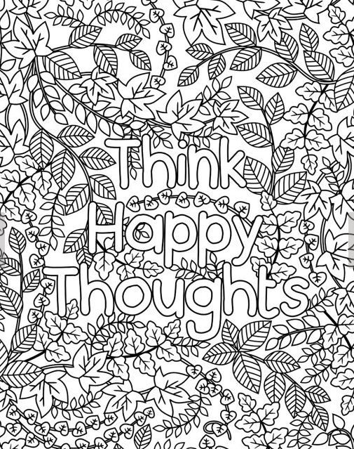 addiction recovery coloring pages - think happy thoughts coloring page for grown ups adult