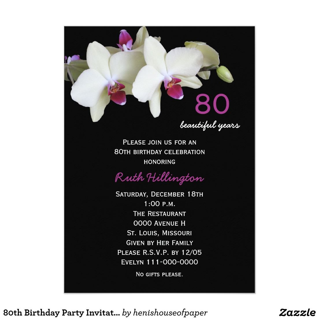 80th Birthday Party Invitation Orchids | Party invitations, 80 ...