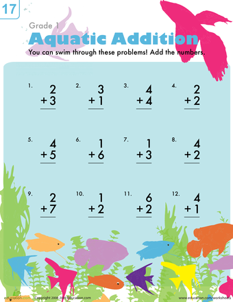 Aquatic Addition | Worksheets, Addition worksheets and Math skills