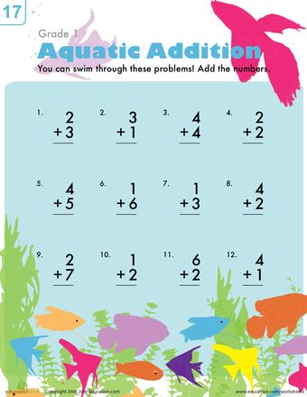 Aquatic Addition Worksheet Education Com Addition Worksheets First Grade Math Worksheets Kindergarten Math Worksheets