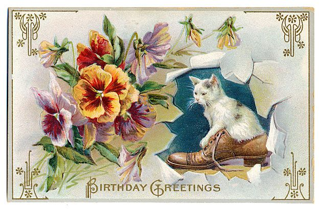 Kitten Birthday Greeting Quilt Block Multi Sizes FrEE ShiPPinG – Happy Birthday Post Cards