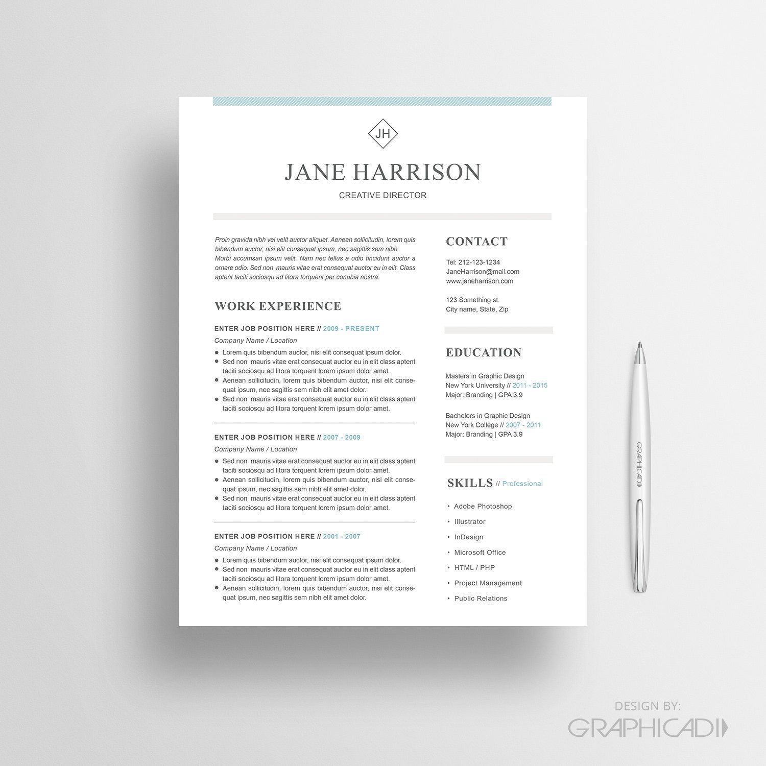 1 2 Page Resume Template With A Matching Cover Letter And