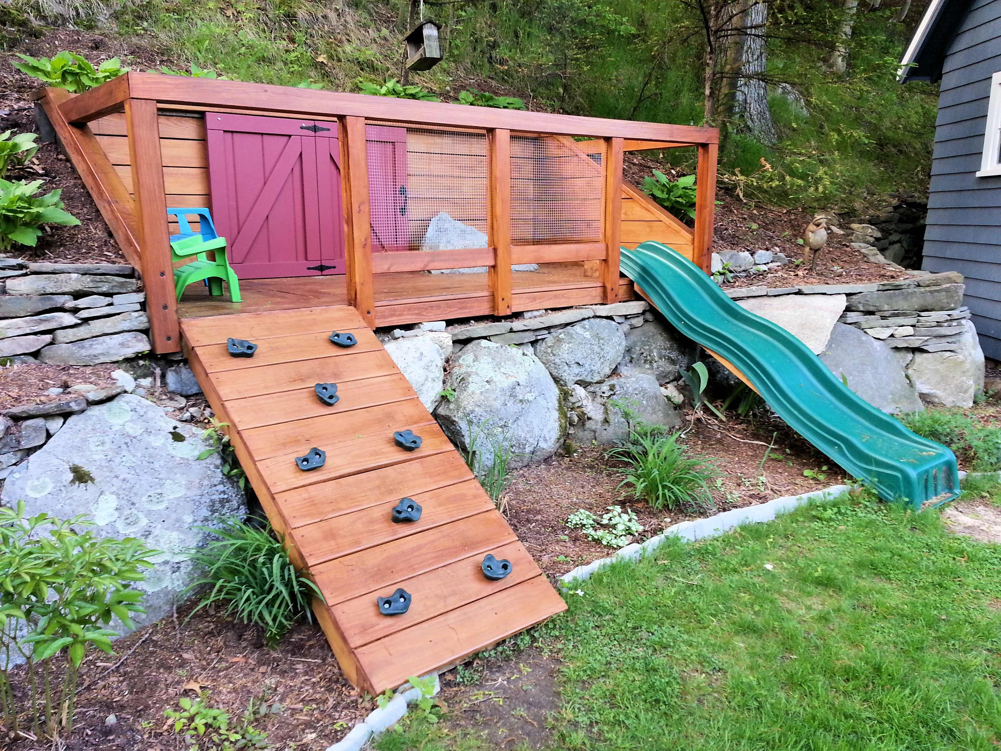 Hillside playground built for my kids to maximize space in ... on Small Sloped Backyard Ideas On A Budget id=30757
