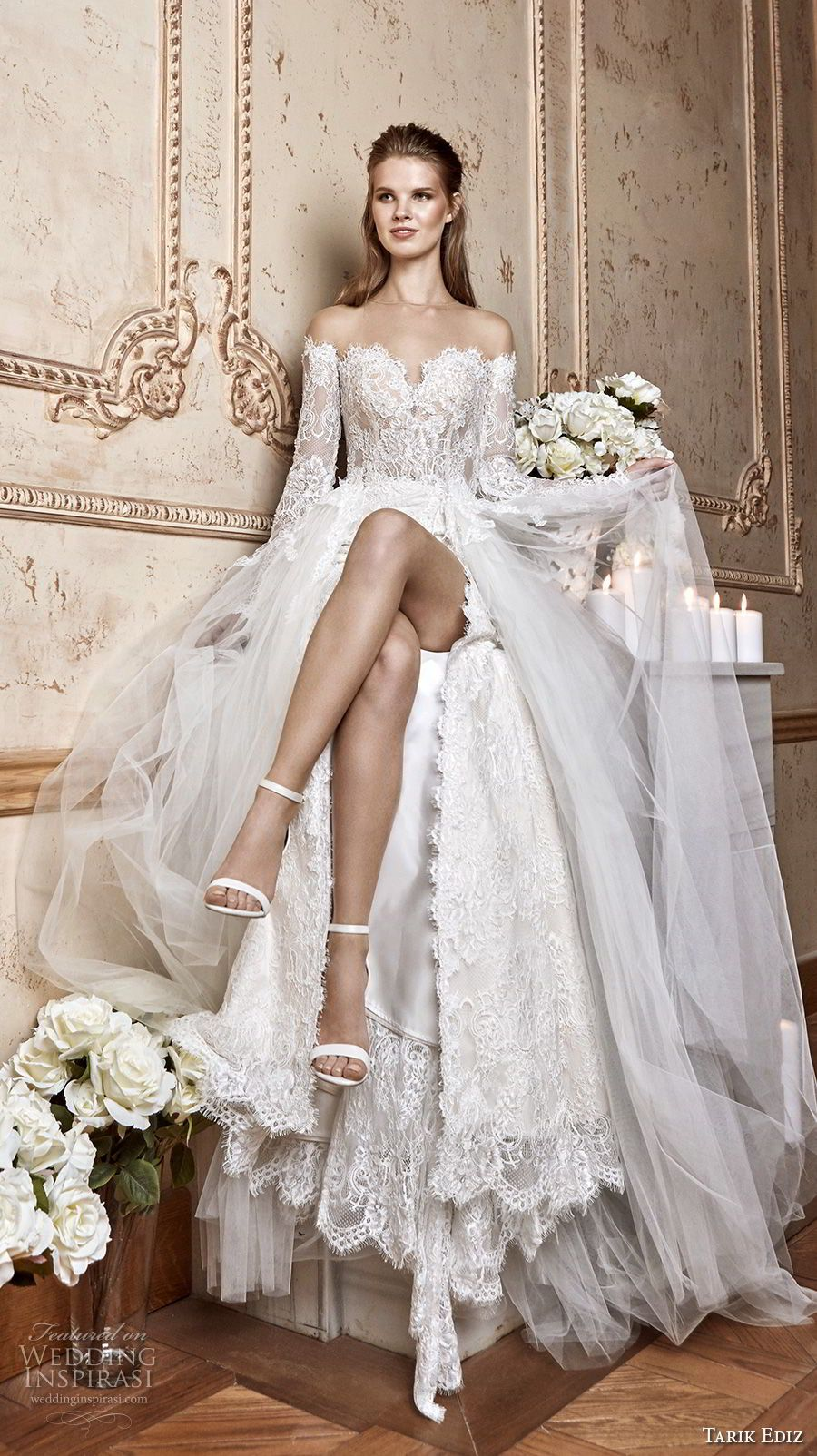 Tarik Ediz 2017 Bridal Off The Shoulder Sweetheart Neckline Heavily Embellished Bodice High Skirt Y A Line Wedding Dress 19 Mv