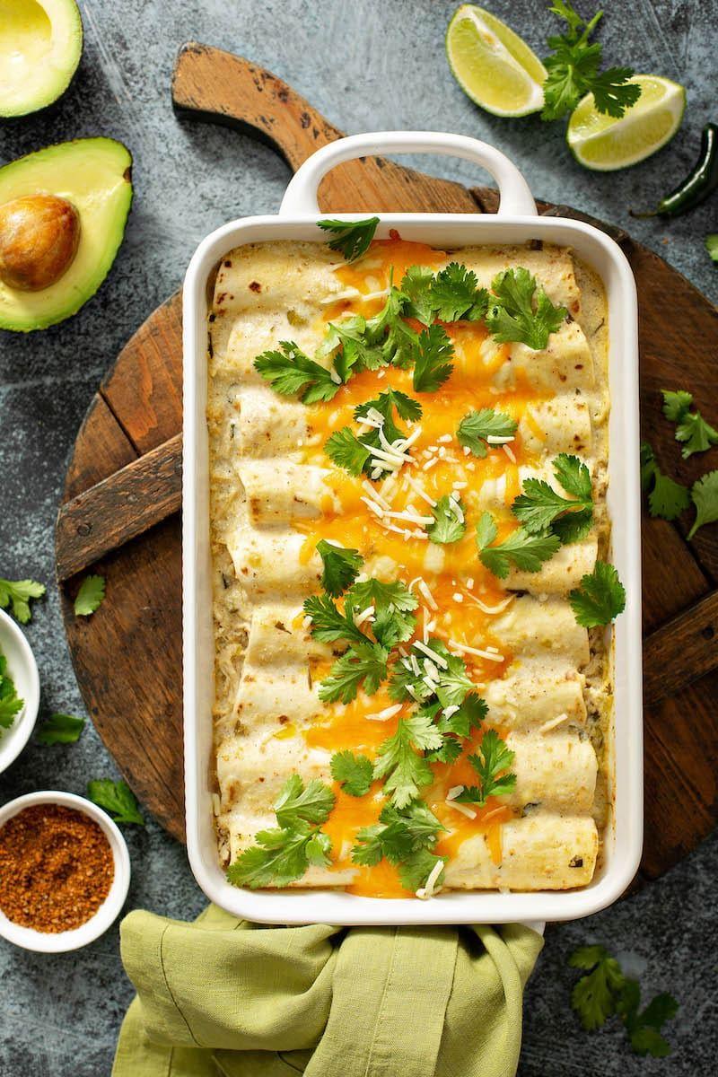 Sour Cream Chicken Enchiladas With Homemade White Sauce Recipe In 2020 Chicken Casserole Dinners Sour Cream Chicken Homemade White Sauce
