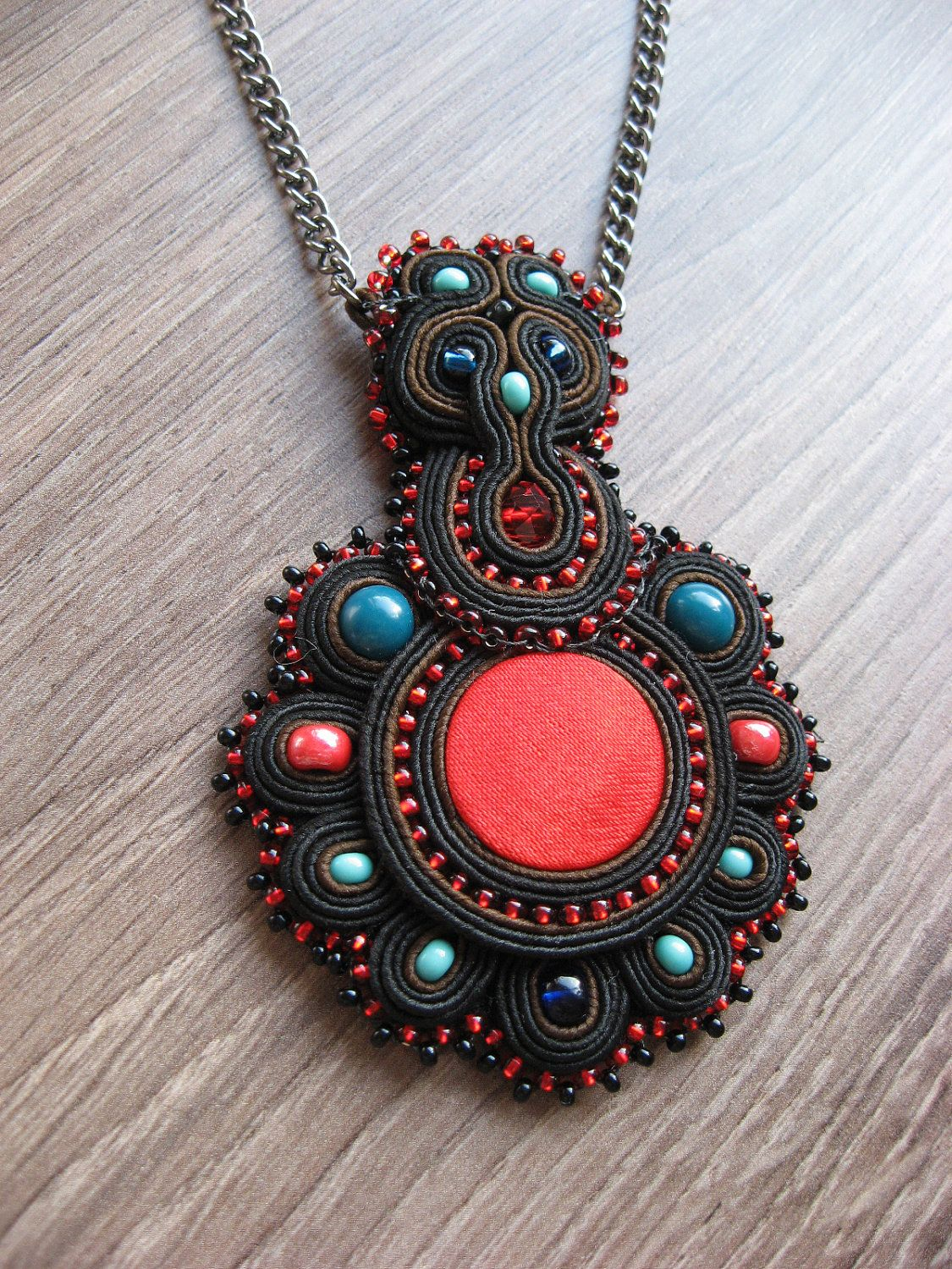 Soutache pendant in black. $35.00, via Etsy.