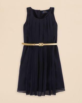 Ralph Lauren Girls' Pleated Dress - Sizes 7-16 | Bloomingdale's