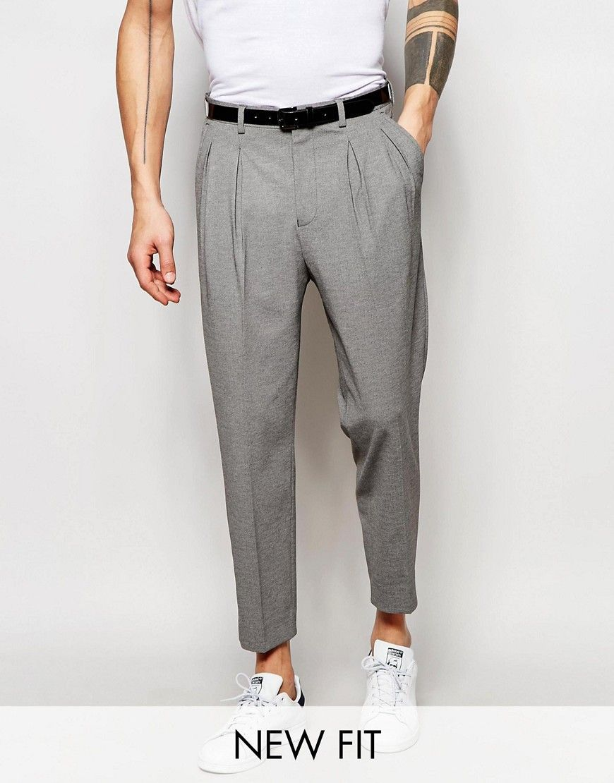 Pleated Cropped Stretch Chino Pant