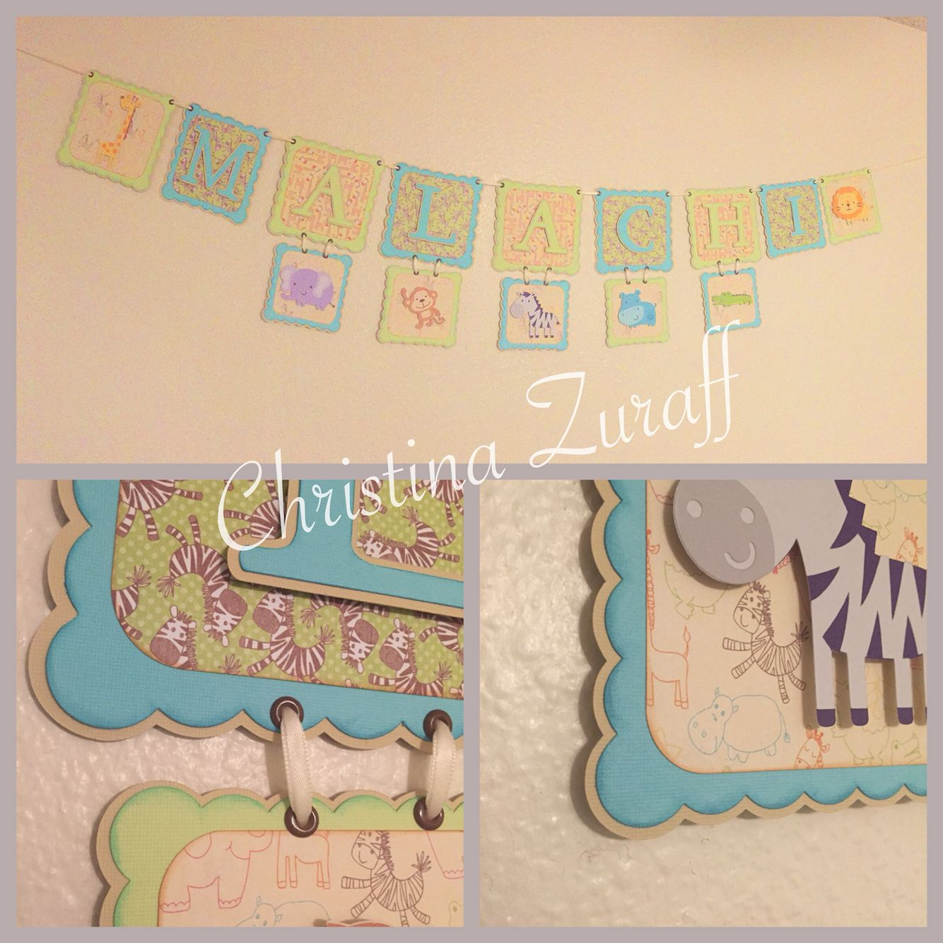 "Noah's Arc themed banner for a friends baby shower. I used the ""Create a Critter"" Cricut cartridge. Pattern paper is Petit Bébé from Hobby Lobby's 'The Paper Studio'. I also used card stock from HL & inked everything with Tim Holtz distress inks (Tea Dye, Cracked Pistachio, & Broken China) I used foam adhesive to pop up the letters and animals for dimension.  Check out my FB page for more pics/projects https://www.facebook.com/Mad4pigs"