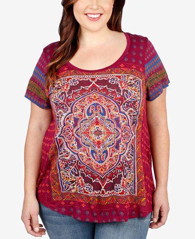 20f3b4daeea2a Lucky Brand Plus Size Magic Carpet Graphic T-Shirt
