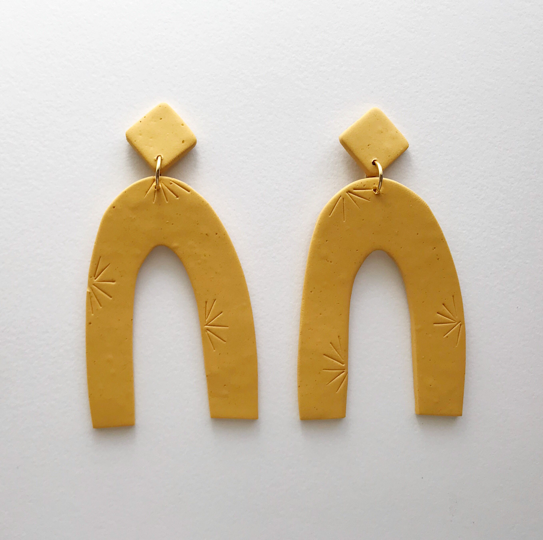 Yellow Clay Earrings Modern Yellow Earrings Polygon Studs Yellow silver post earrings Yellow Ceramic Earrings Yellow Statement Earrings