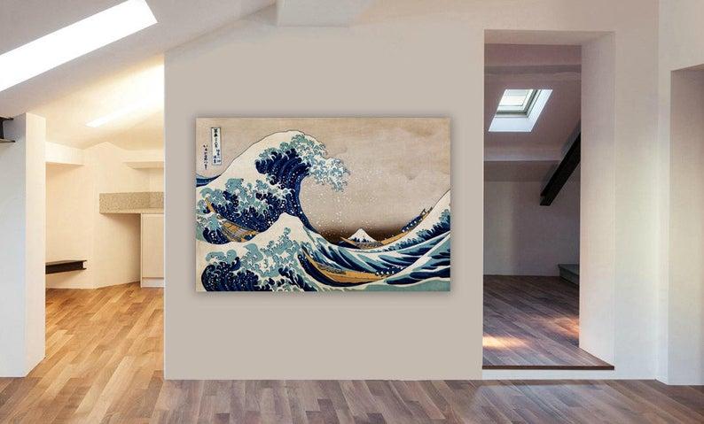 The Great Wave Off Kanagawa Japanese Canvas Wall Art Framed Etsy In 2020 Great Wave Great Wave Off Kanagawa Framed Wall Art