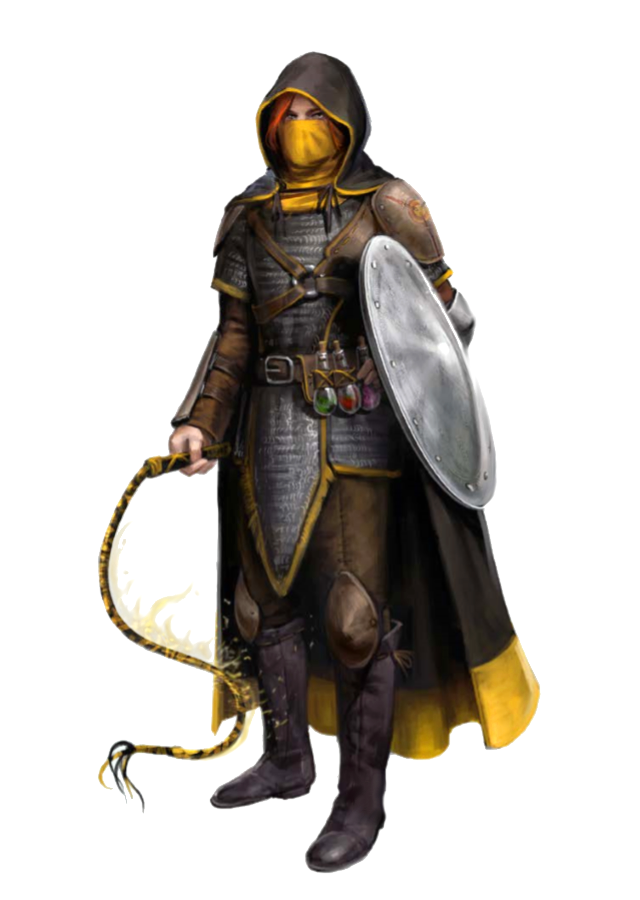 Female Human Zealot or Cleric of Calistria with Flaming Whip and