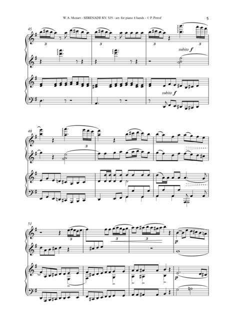 W A Mozart Serenade Kv 525 Eine Kleine Nachtmusik For Piano 4 Hands Complete Score Digital Sheet Music Sheet Music Piano Sheet Music