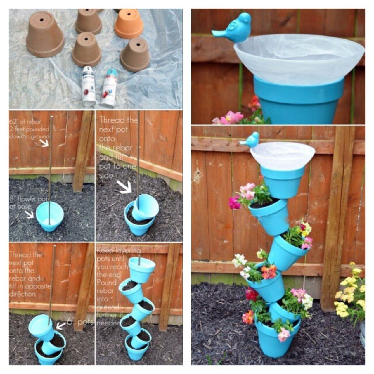 Diycraftsnmore Flower Pot Tower Diy Flower Pots Flower Pots