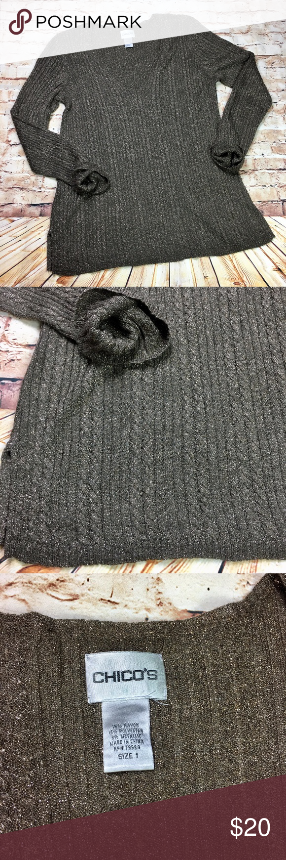 Chico's] Brown Metallic Sz 1 Cable Knit Sweater