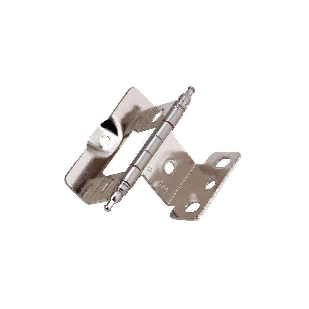 3/4 in. Full Inset Sterling Nickel Door Thickness Minaret Tip Full Wrap Hinge