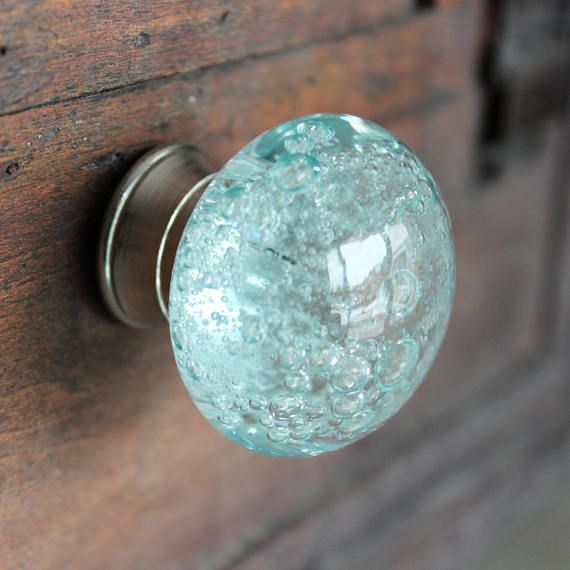 Glass Drawer Knobs with bubbles in Light Blue - Glass Knobs with Bubbles - Glass Cabinet Knobs - Glass Knobs with SIlver Hardware