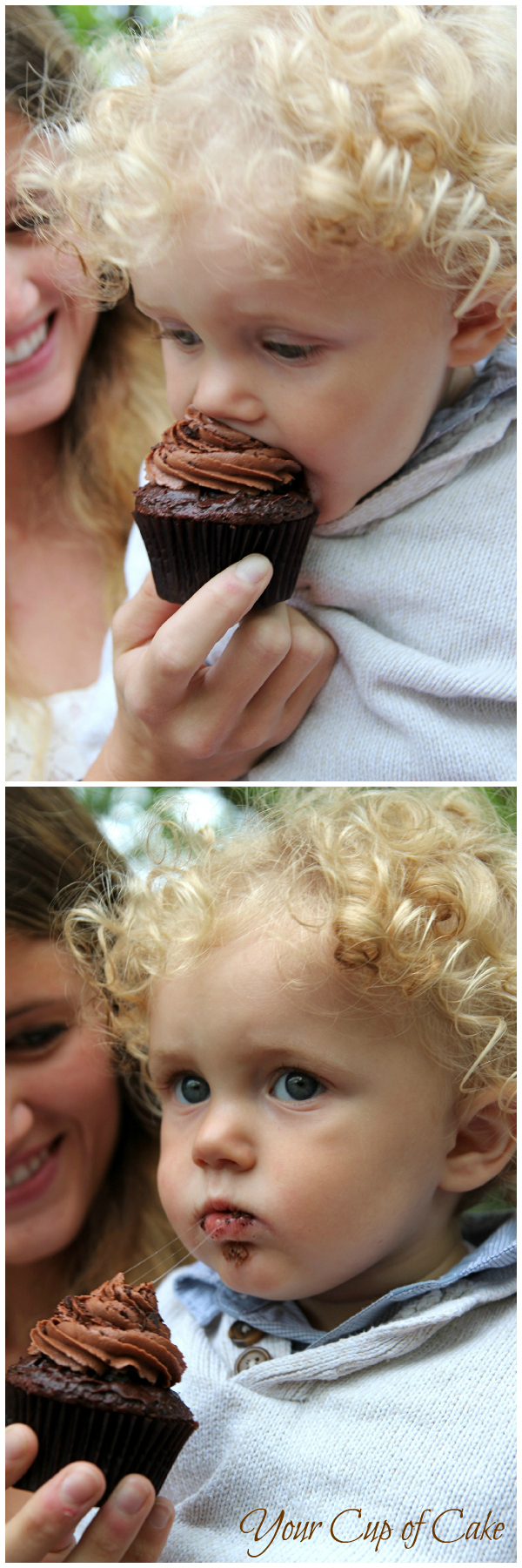 His first cupcake