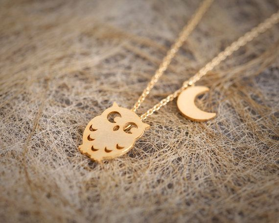 Cute Owl and Moon Necklace - Gold // N024-GD // Gold Plated, Cute pendant, Owl and Moon, simple, everyday jewelry, Best friend Gift on Etsy, $9.50
