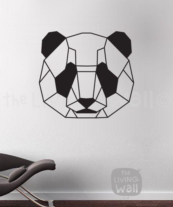 Photo of Geometric Bear Head Panda, Geometric Animal Wall Art, Bear Home Decor Black, Monochrome Living Room, Vinyl Wall Stickers, Australian Made