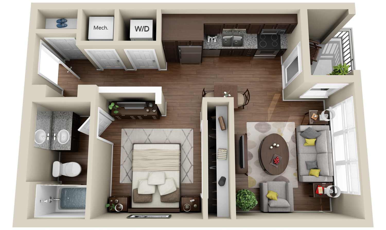 2 Apartments And Condos 3dplans Com Apartment Floor Plans