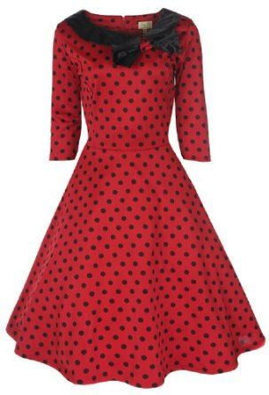Lindy Bop 'Cassy' Red Polka Dot Vintage 1950's Parisian Style Collared Bow Dress,$46.99