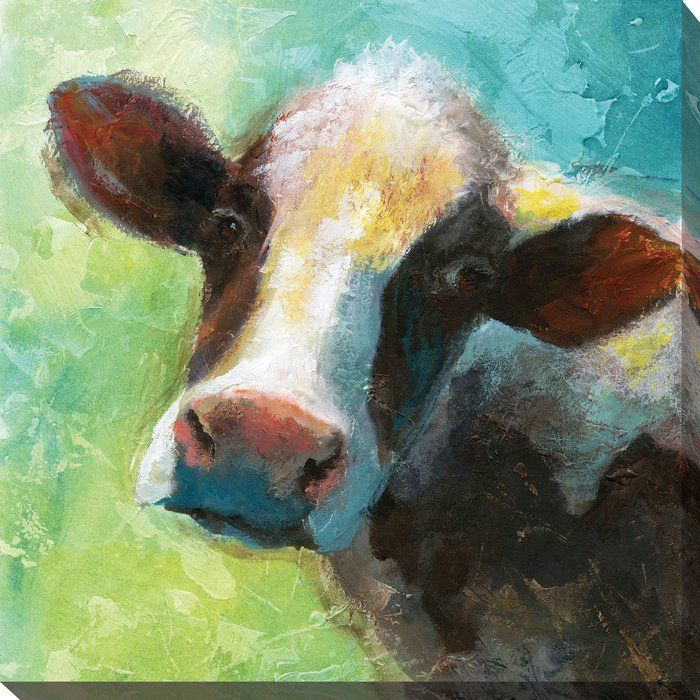 'Colorful Quirky Cow' Print on Wrapped Canvas