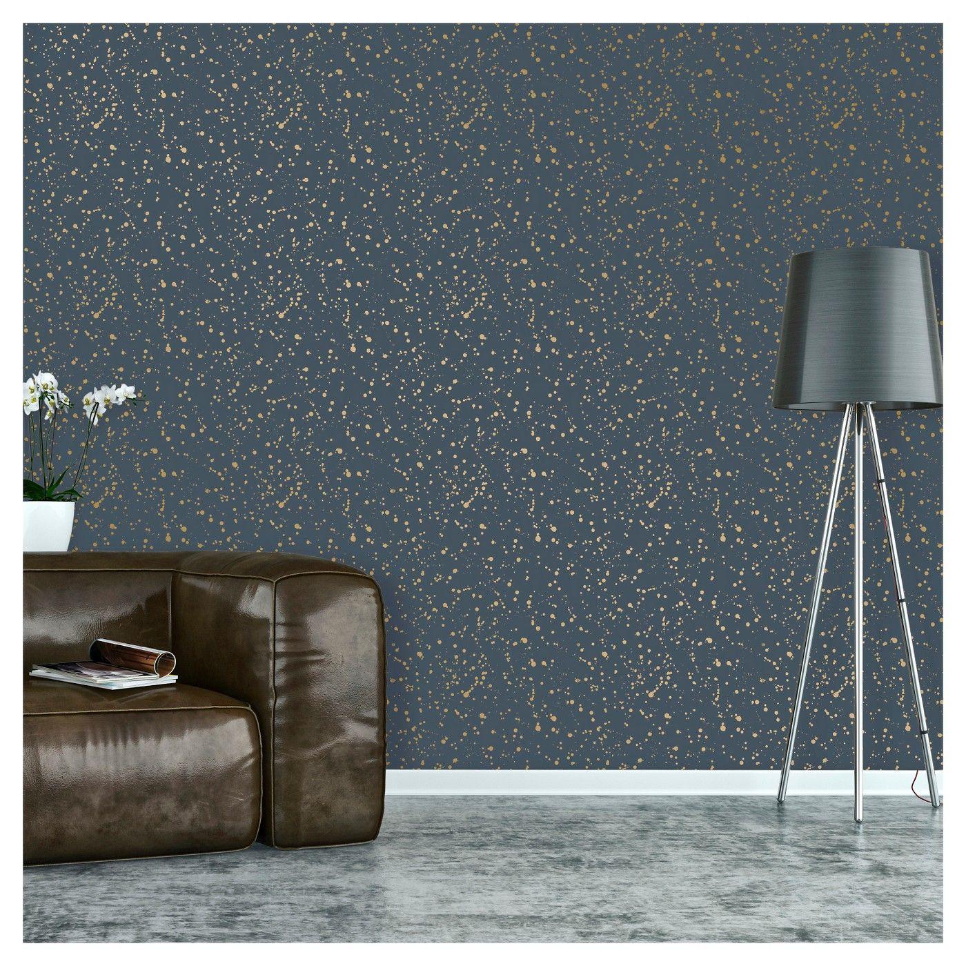 Celestial Peel Stick Wallpaper Navy Gold Opalhouse Peel And Stick Wallpaper Accent Wall Flat Paint