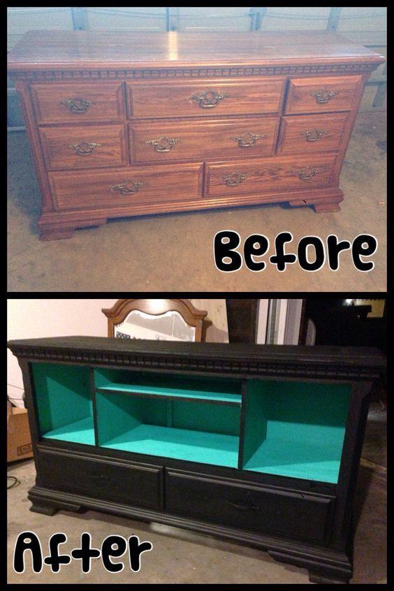 new entertainment center made from old dresser furniture rehab pinterest dresser. Black Bedroom Furniture Sets. Home Design Ideas