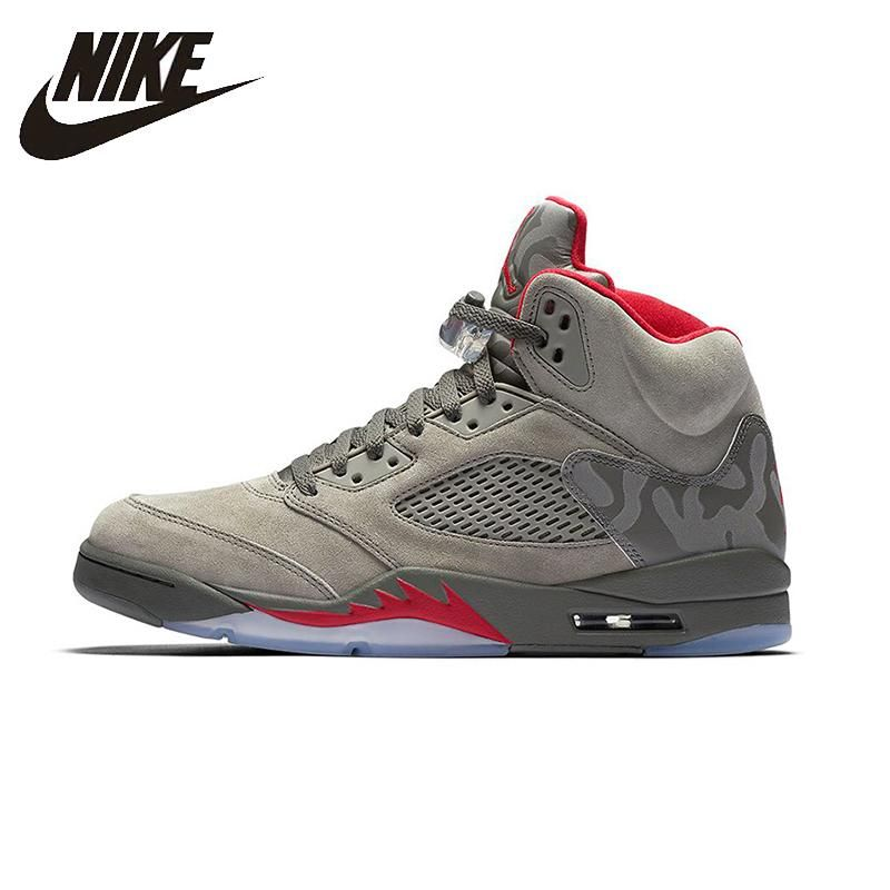 2ff4f0400ae7aa NIKE Air Jordan 5 Retro AJ5 Camouflage Mens Basketball Shoes Breathable  Height Increasing Suede Sneakers For Men Shoes