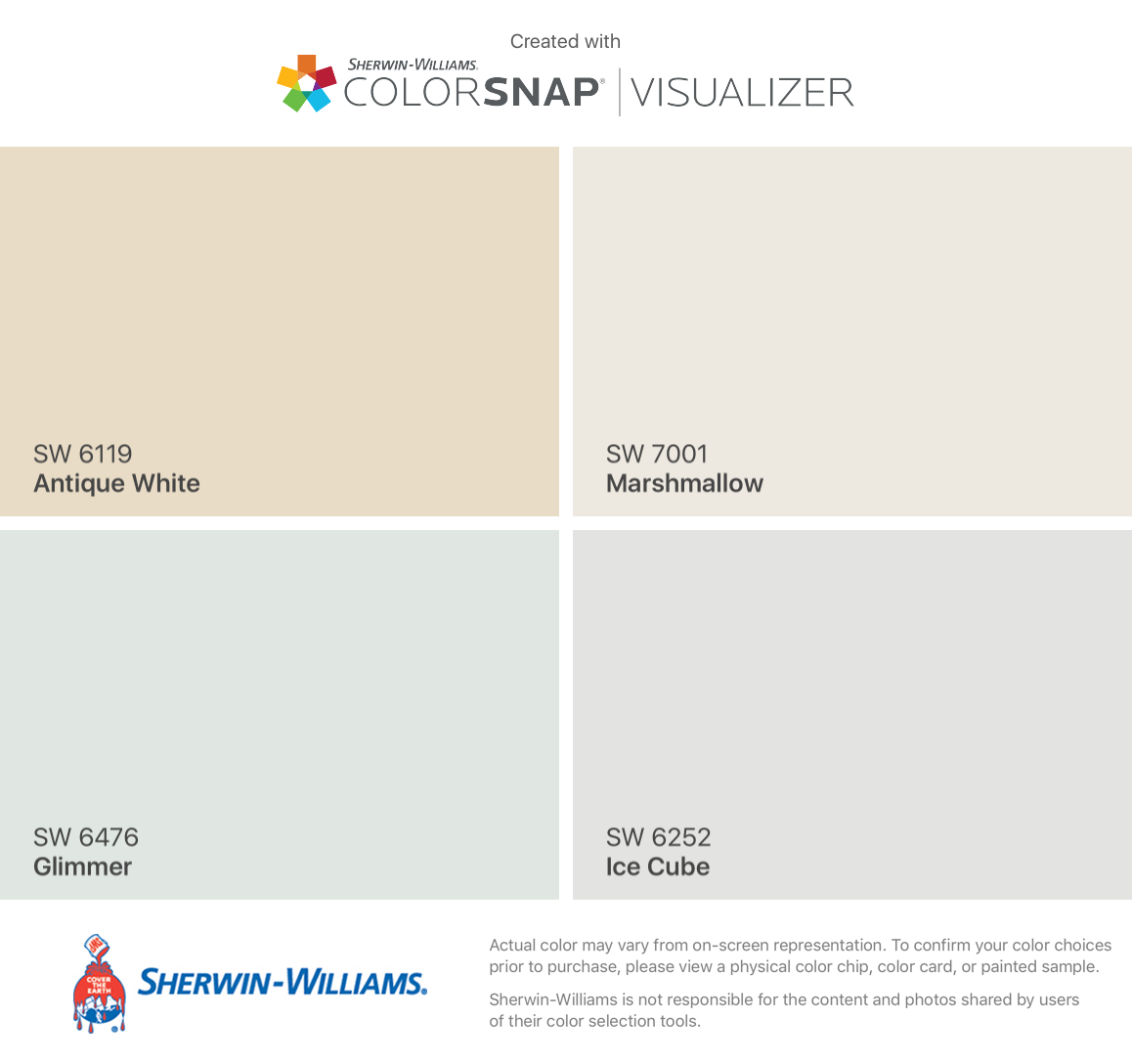 I found these colors with colorsnap visualizer for iphone by sherwin williams antique white sw 6119 glimmer sw 6476 marshmallow sw 7001