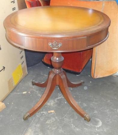 Great Condition Vintage Drum Table With Leather Top, Drawer And Wheeled  Pedestal Legs $100.