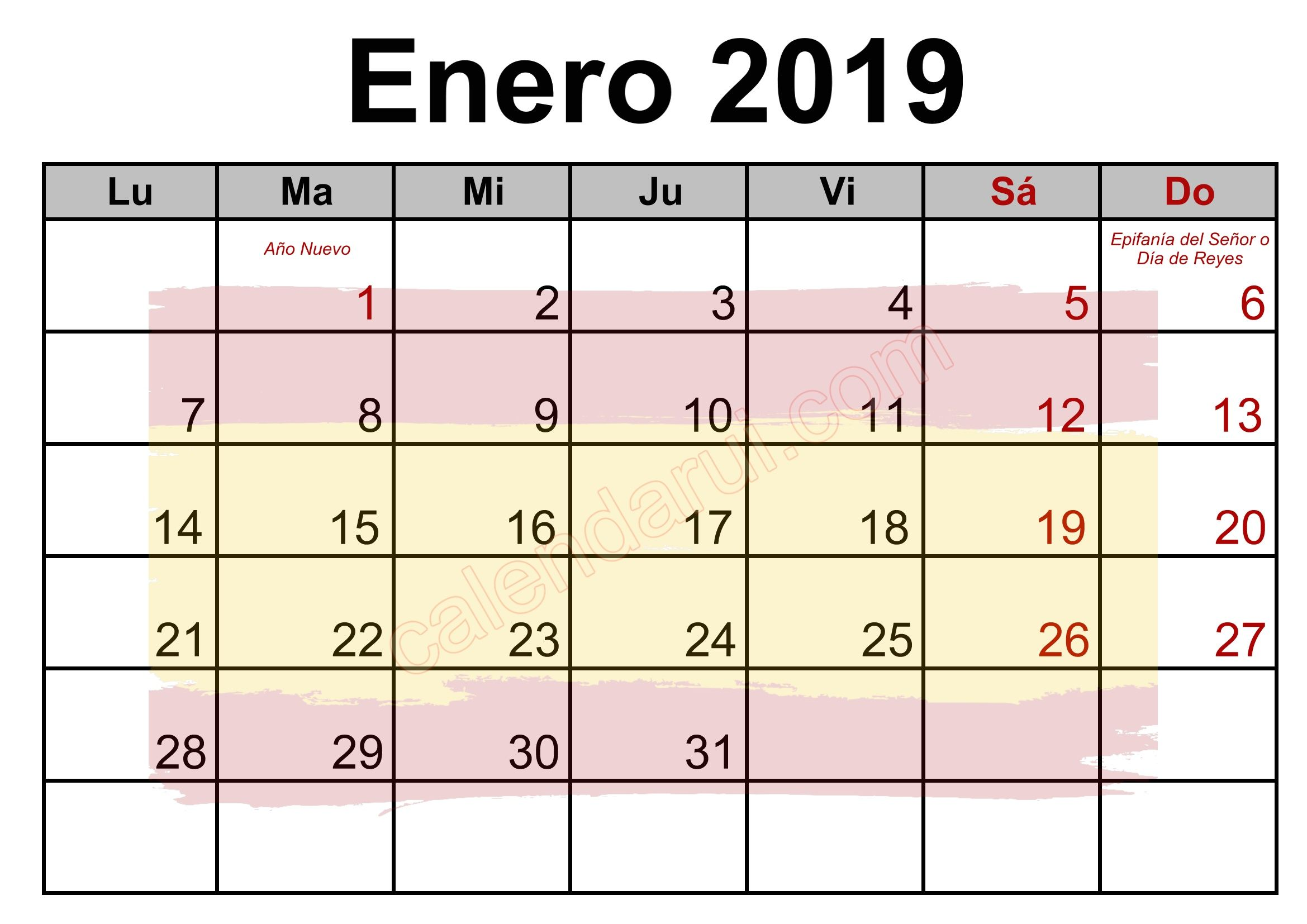 Spanish Calendar Holidays 2019 Monthly With Images Holiday