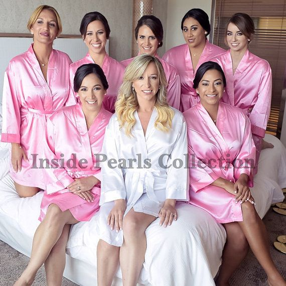 2a54168c1e3 SHIPPED IN 48HRS Set of 5 or 6 Rhinestone Personalized Bridesmaid Robes Silk  satin Wedding Gift dressing Gown Pink Fushcia White Mint Blue. Bride robe  ...