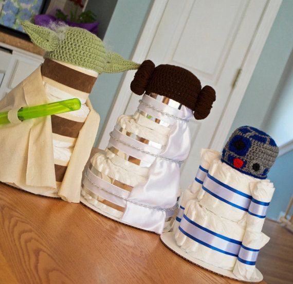 Set Of 3 Star Wars Baby Shower Diaper Cakes, Yoda, R2D2, Princess Leia
