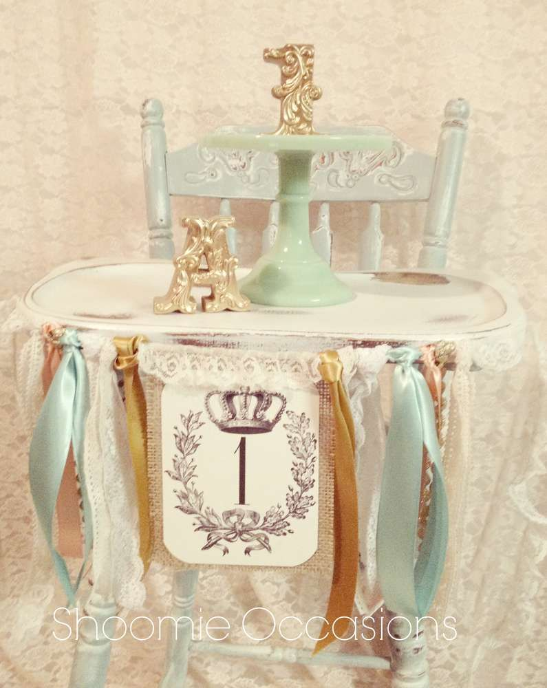Vintage Chic Birthday Party Ideas High chair decorations High