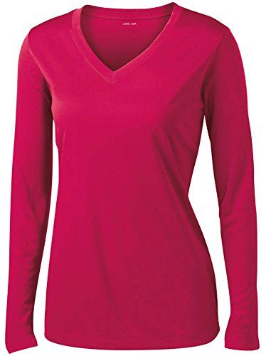 bb2a142665711 Ladies Long Sleeve Moisture Wicking Athletic Shirts in Sizes XS-4XL  Lightweight