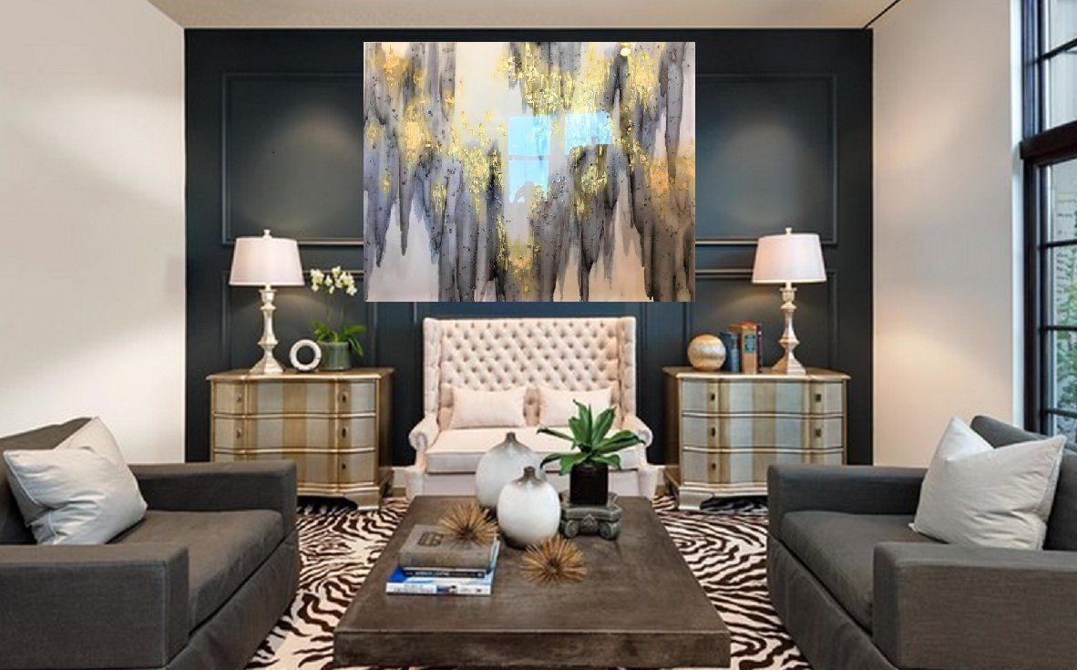 Sold 72 X 48 6 Ft X 4 Ft Taupe Charcoal Gold Etsy In 2020 Living Room Colors Living Room Accents Blue Accent Walls #taupe #and #blue #living #room