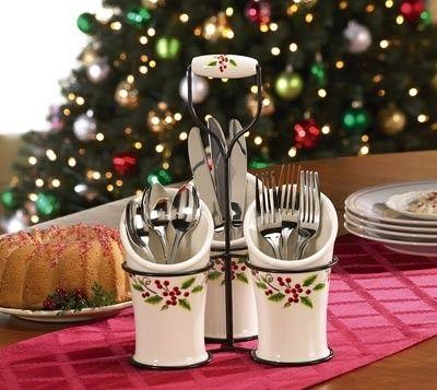 Holly Christmas Utensil Holder Holiday Kitchen Christmas Ornament Sets Christmas Holly