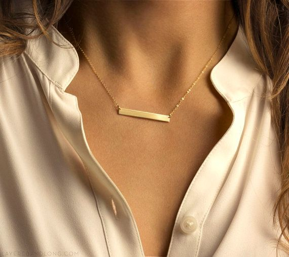 Resultado de imagem para gold bar necklace