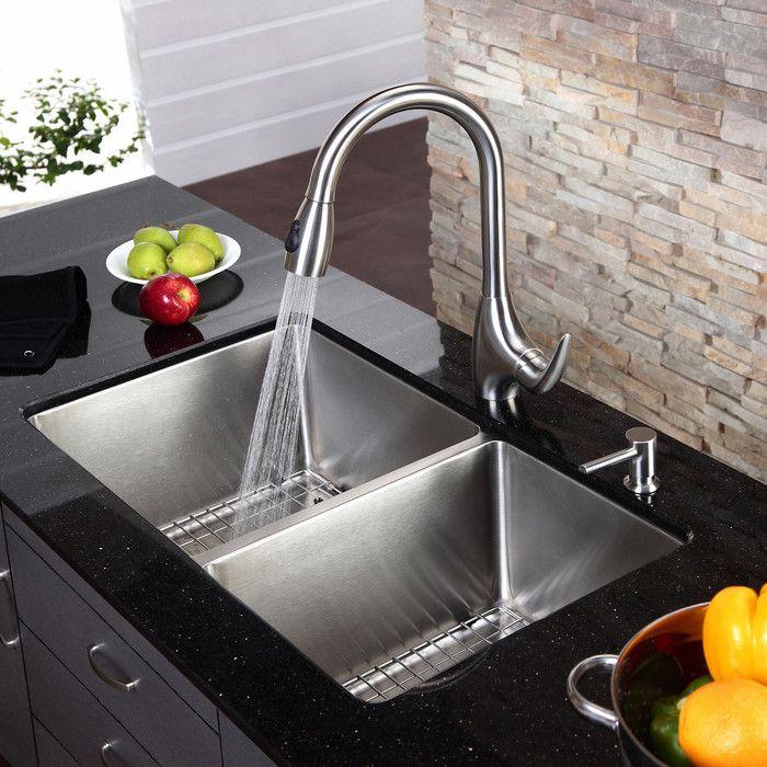 Standart Pro 33 L X 19 W Double Basin Undermount Kitchen Sink With Basket Strainer Designs De Cozinha Dicas De Decoracao De Interiores Cozinhas Modernas