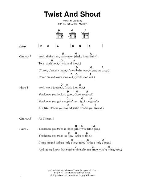 Twist And Shout By The Beatles Guitar Chordslyrics Guitar