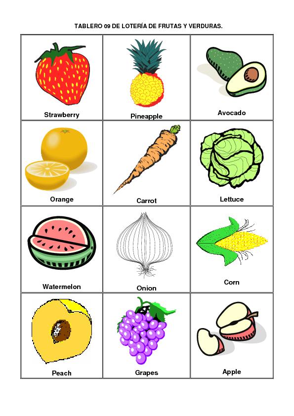 Dibujos De Frutas Y Verduras En Escritos En Guarani Buscar