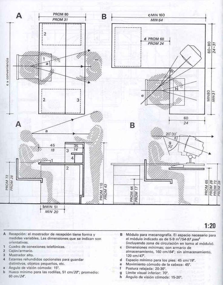 Resultado de imagen para recepci n medidas office layout for Dimensiones de escritorios de oficina