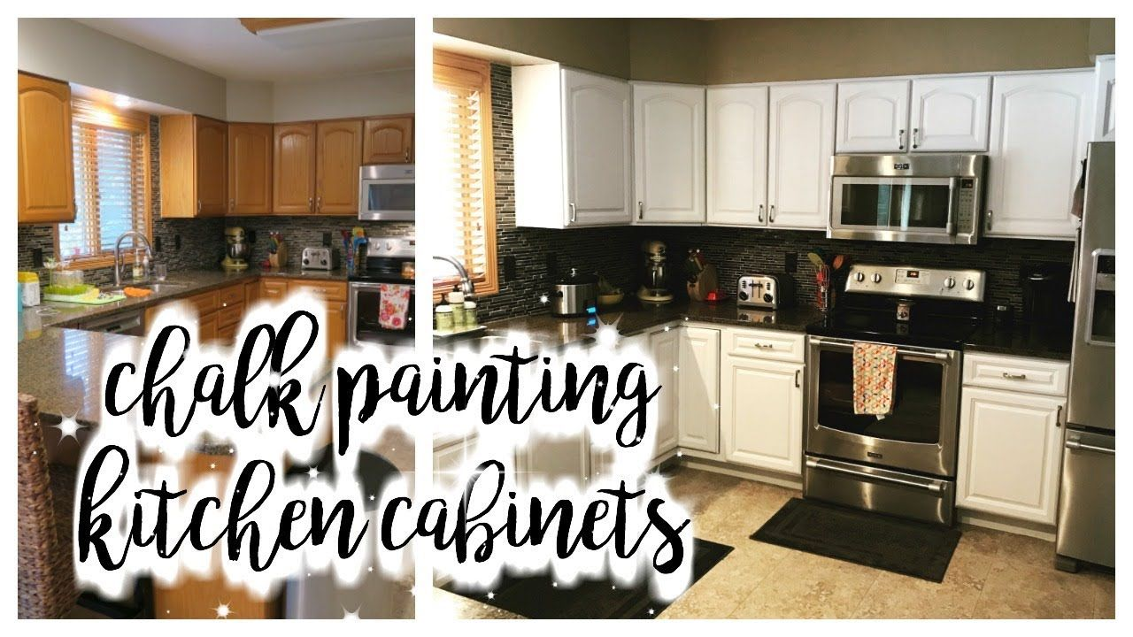 How I Chalk Painted My Kitchen Cabinets Youtube Kitchen Cabinets Chalk Paint Kitchen Cabinets Cheap Kitchen Cabinets